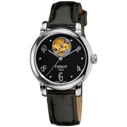 Tissot Women's 'Lady Heart' Automatic Open Wheel Black Leather Watch - Thumbnail 0