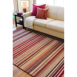 Hand-crafted Red Striped Casual Wool Cruiser Rug (9' x 13') - Thumbnail 1