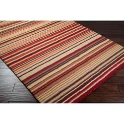 Hand-crafted Red Striped Casual Wool Cruiser Rug (9' x 13') - Thumbnail 2