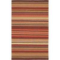 Hand-crafted Red Striped Casual Wool Cruiser Area Rug (9' x 13')