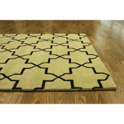 Handmade Luna Moroccan Trellis Natural Wool Rug (5' x 8')