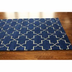 Handmade Luna Moroccan Trellis Navy Wool Rug (5' x 8') - Thumbnail 1