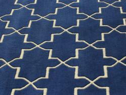 Handmade Luna Moroccan Trellis Navy Wool Rug (5' x 8') - Thumbnail 2