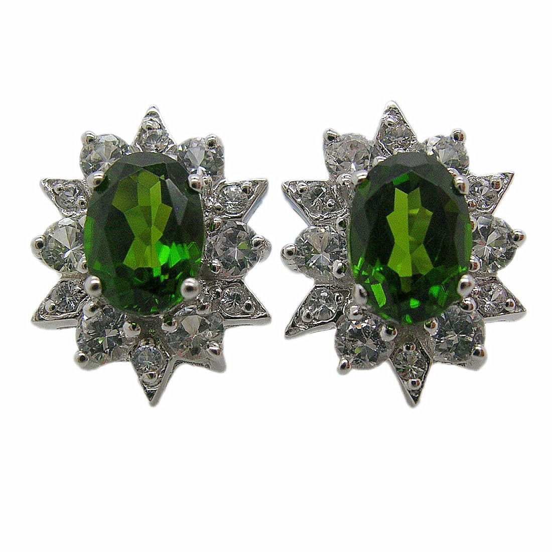 D'sire 10k White Gold Chrome Diopside and White Sapphire Stud Earrings