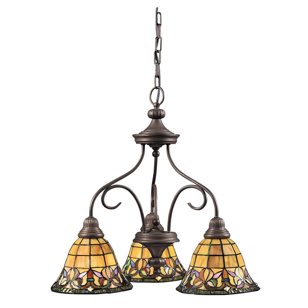 Tiffany Style 3 Light Bronze Chandelier