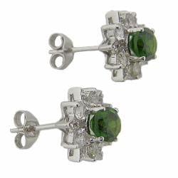 D'sire 10k White Gold Chrome Diopside and White Sapphire Stud Earrings - Thumbnail 1