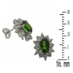 D'sire 10k White Gold Chrome Diopside and White Sapphire Stud Earrings - Thumbnail 2