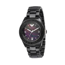 Emporio Armani Women's Black Crystal Ceramic Watch