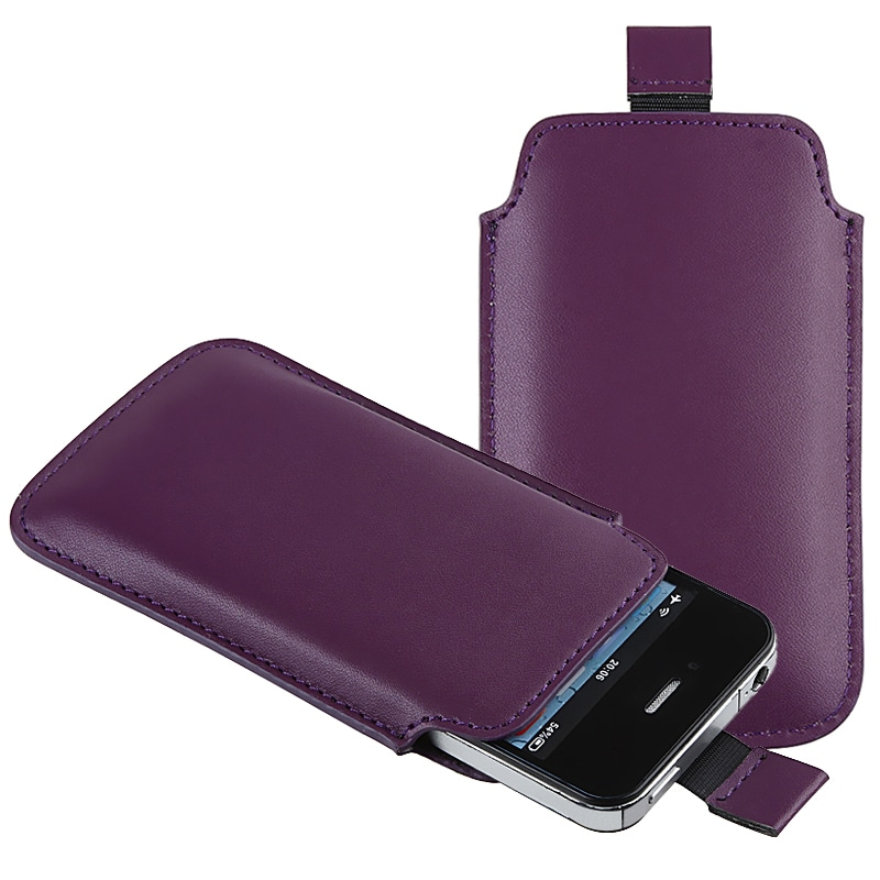 Purple Pull Leather Pouch for Apple iPhone 4/ 4S