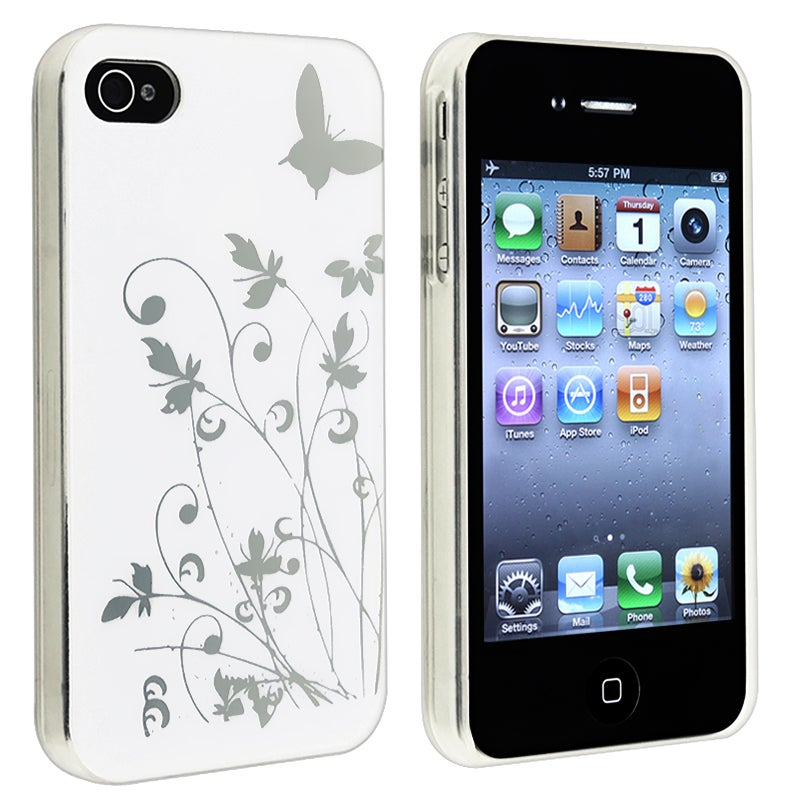 White Flower with Butterfly Snap-on Case for Apple iPhone 4/ 4S