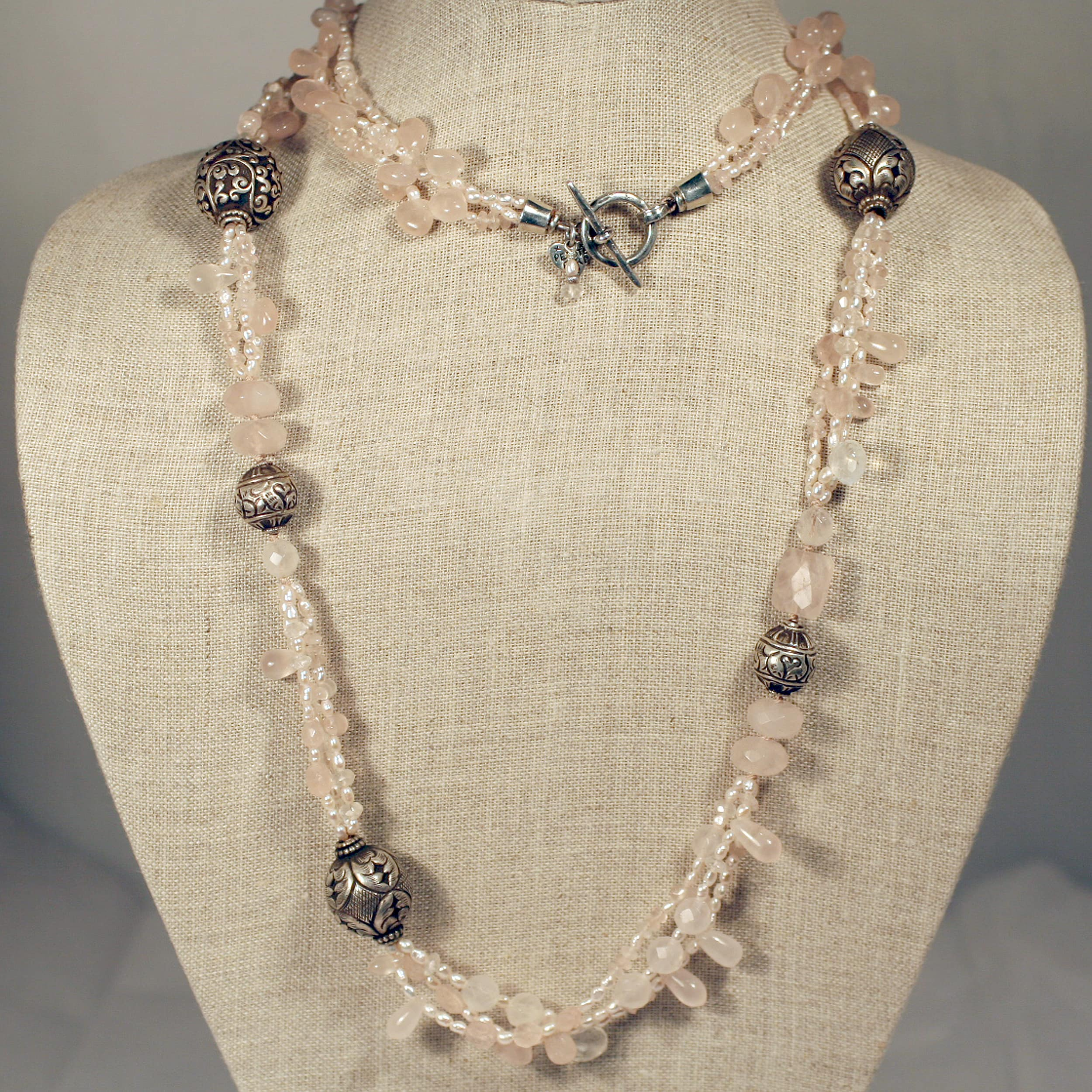 Peyote Bird Designs Sterling Silver Pearl and Rose Quartz Necklace (2 mm)(USA)