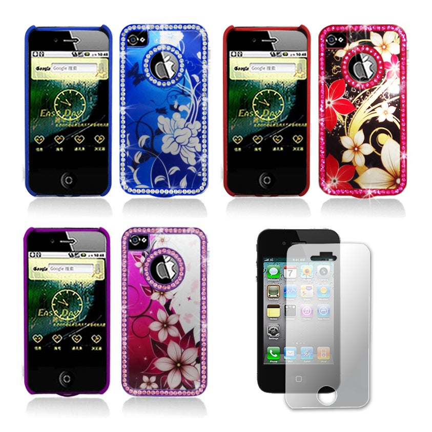 Apple iPhone 4/4S Sparkling Crystal Designer Case and Screen Protector - Thumbnail 0