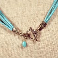 Peyote Bird Designs Sterling Silver Turquoise and Porcelain Necklace (USA) - Thumbnail 1