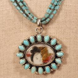 Peyote Bird Designs Sterling Silver Turquoise and Porcelain Necklace (USA) - Thumbnail 2