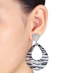 Miadora  Stainless Steel Zebra Stripe Earrings - Thumbnail 2