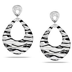 Miadora  Stainless Steel Zebra Stripe Earrings