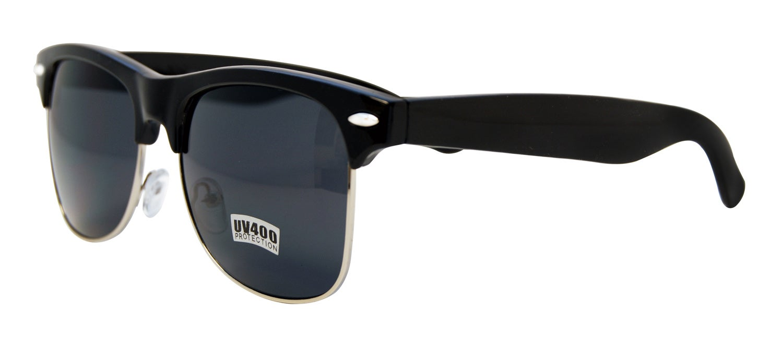 Unisex Black/ Silver Fashion Sunglasses