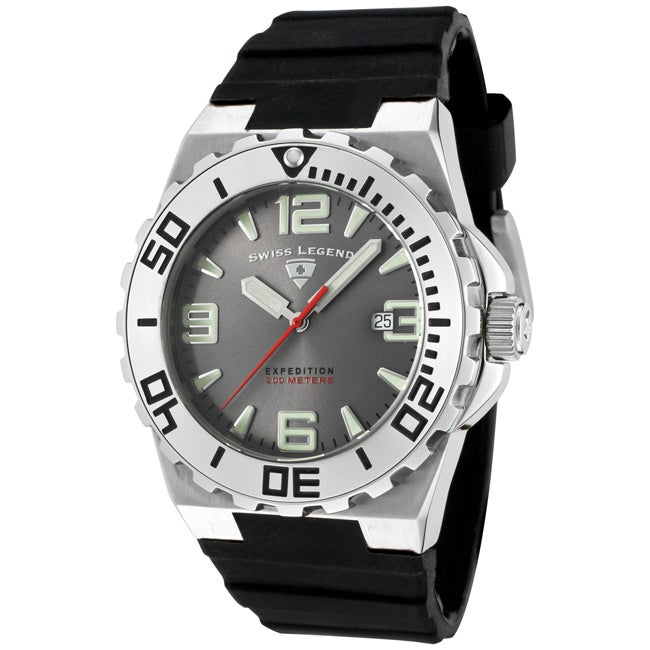 Swiss Legend Men's 'Expedition' Grey Dial Black Silicon Watch