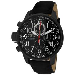 Invicta Men's 'Invicta II' Black Dial Black Leather Chronograph Watch