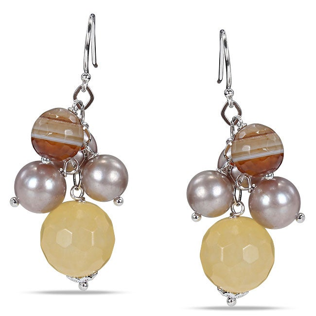 Sterling Silver 30ct TGW Multi-colored Agate and FW Pearl Earrings