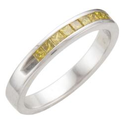 Unending Love Sterling Silver 1/3ct TDW Treated Yellow Diamond Band