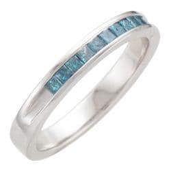 Unending Love Sterling Silver 1/3ct TDW Treated Blue Diamond Band