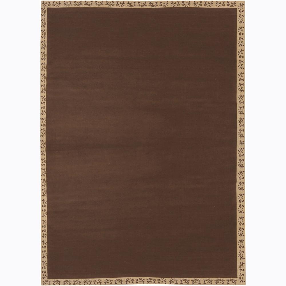 Hand-woven Mandara Brown Border Rug (10' x 10')