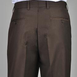 Men's Brown Flat Front Pants