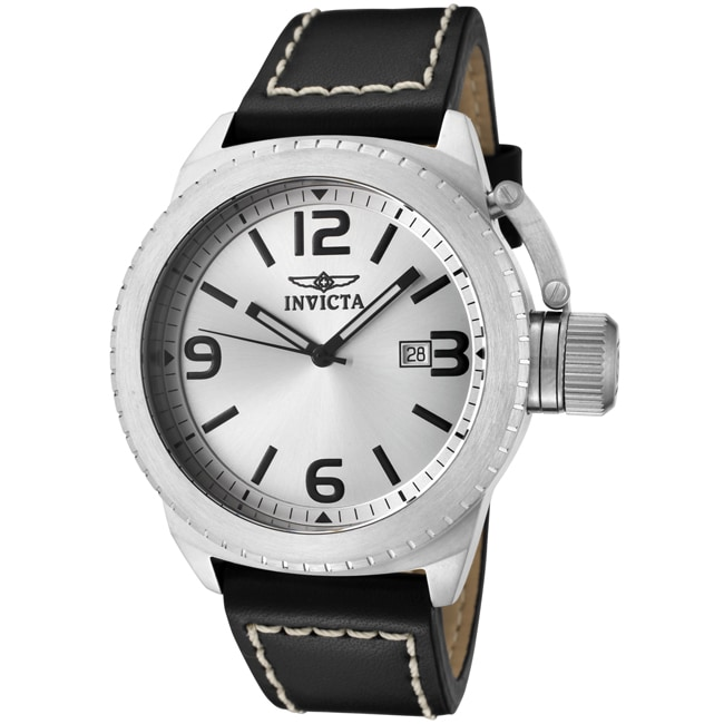 Invicta Men's 'Corduba' Silver Dial Black Leather Watch