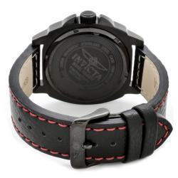 Invicta Men's 'Invicta II' Black Dial Black Leather Watch