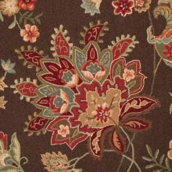 Hand-hooked Chocolate Xiang Wool Rug (5' x 8') - Thumbnail 1