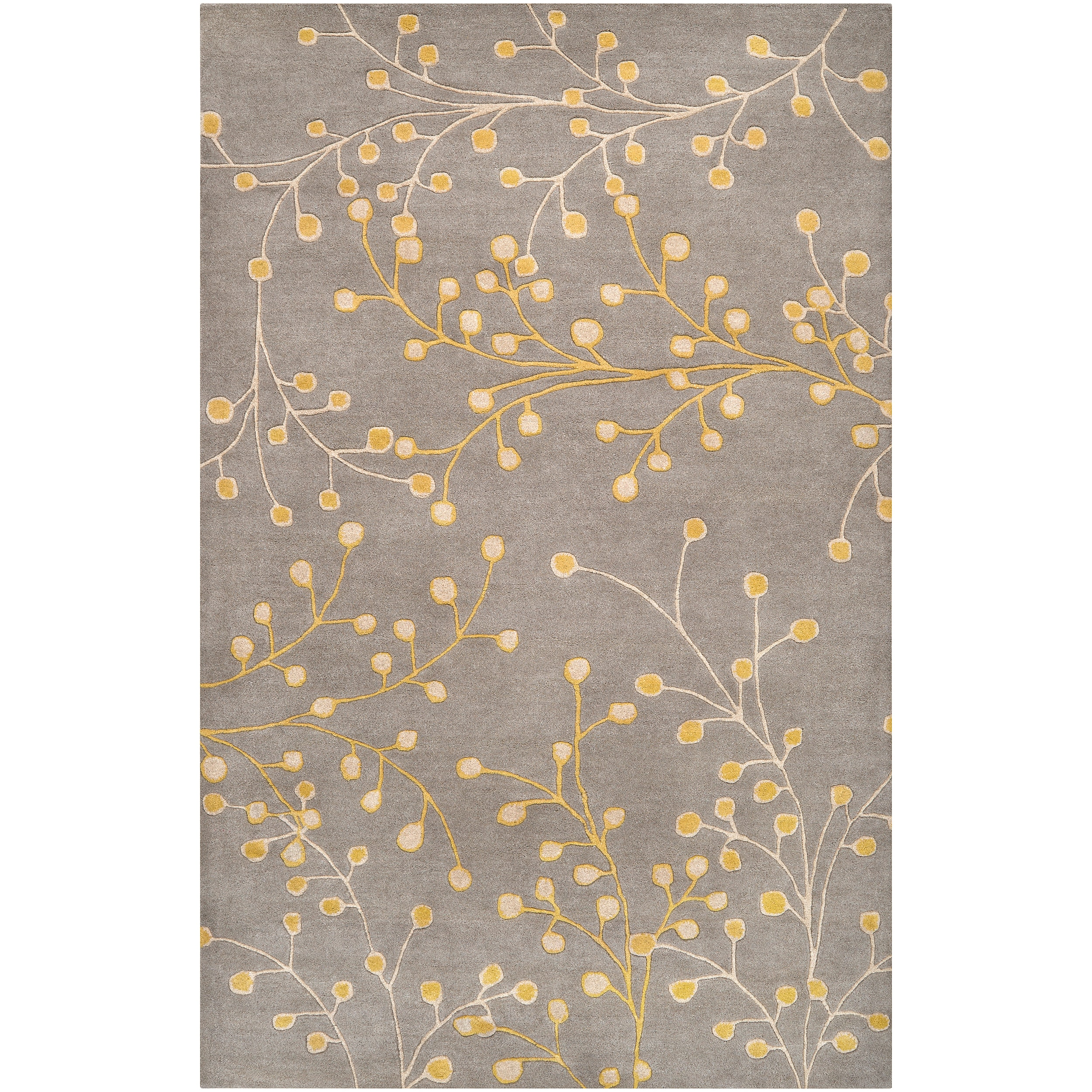 Hand-tufted Gray Krak Floral Wool Rug (10' x 14')