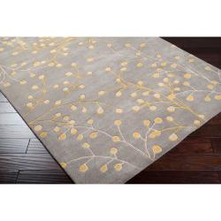 Hand-tufted Gray Krak Floral Wool Rug (10' x 14') - Thumbnail 1