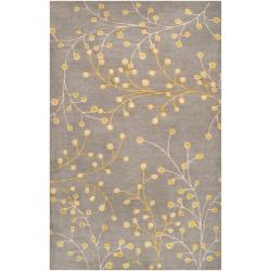 Hand-tufted Gray Krak Floral Wool Area Rug (10' x 14') - Thumbnail 0