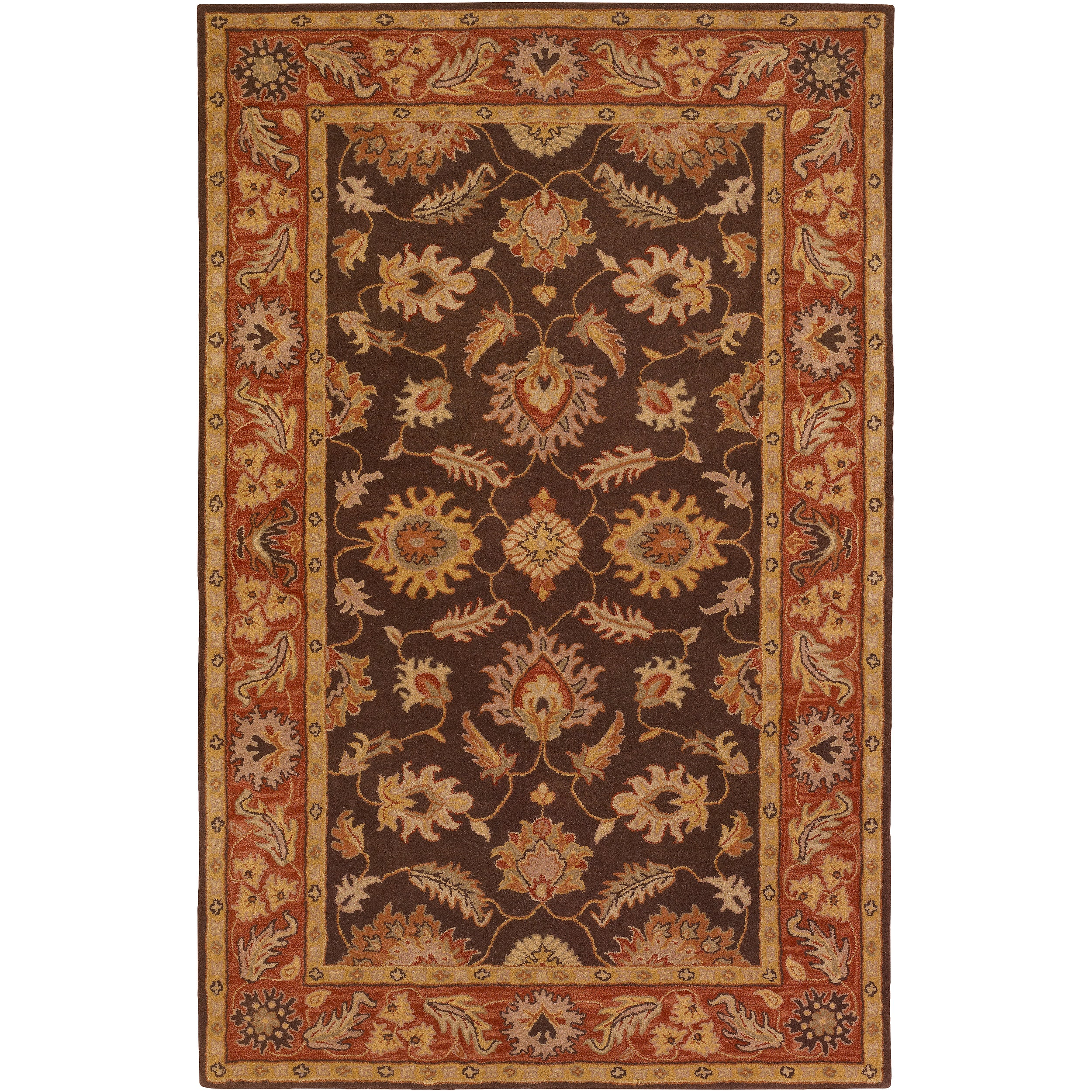 Hand-tufted Flanders Brown Floral Border Wool Rug (2' x 3') - Thumbnail 0