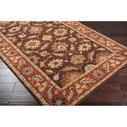 Hand-tufted Flanders Brown Floral Border Wool Rug (2' x 3') - Thumbnail 1