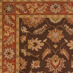 Hand-tufted Flanders Brown Floral Border Wool Rug (2' x 3') - Thumbnail 2