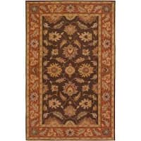 Hand-tufted Flanders Brown Floral Border Wool Area Rug - 10' x 14'