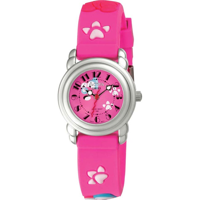 Activa Juniors Cartoon Character Design Hot Pink Rubber Watch
