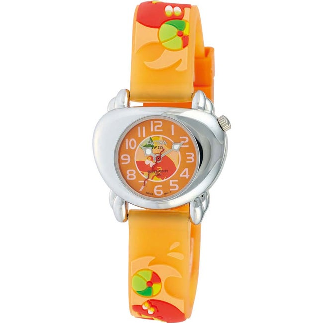 Activa Juniors Dolphin Design Orange Rubber Watch