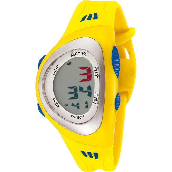 Activa Women's Green Digital Dial Yellow Rubber Watch