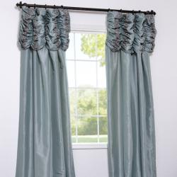 Exclusive Fabrics Ruched Header Sea Green Faux Silk Taffeta 96-inch Curtain Panel - Thumbnail 1