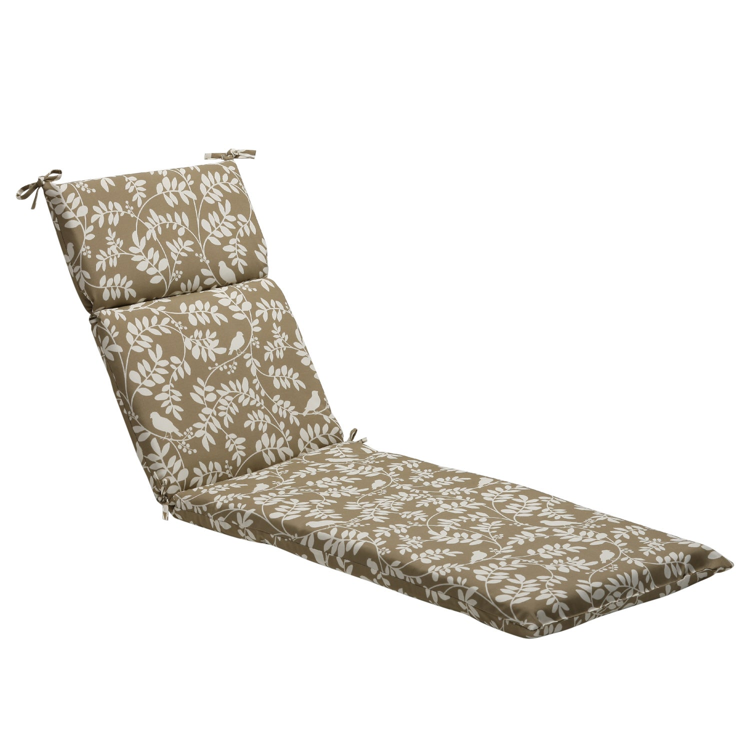 Pillow Perfect Taupe Floral Outdoor Chaise Lounge Cushion