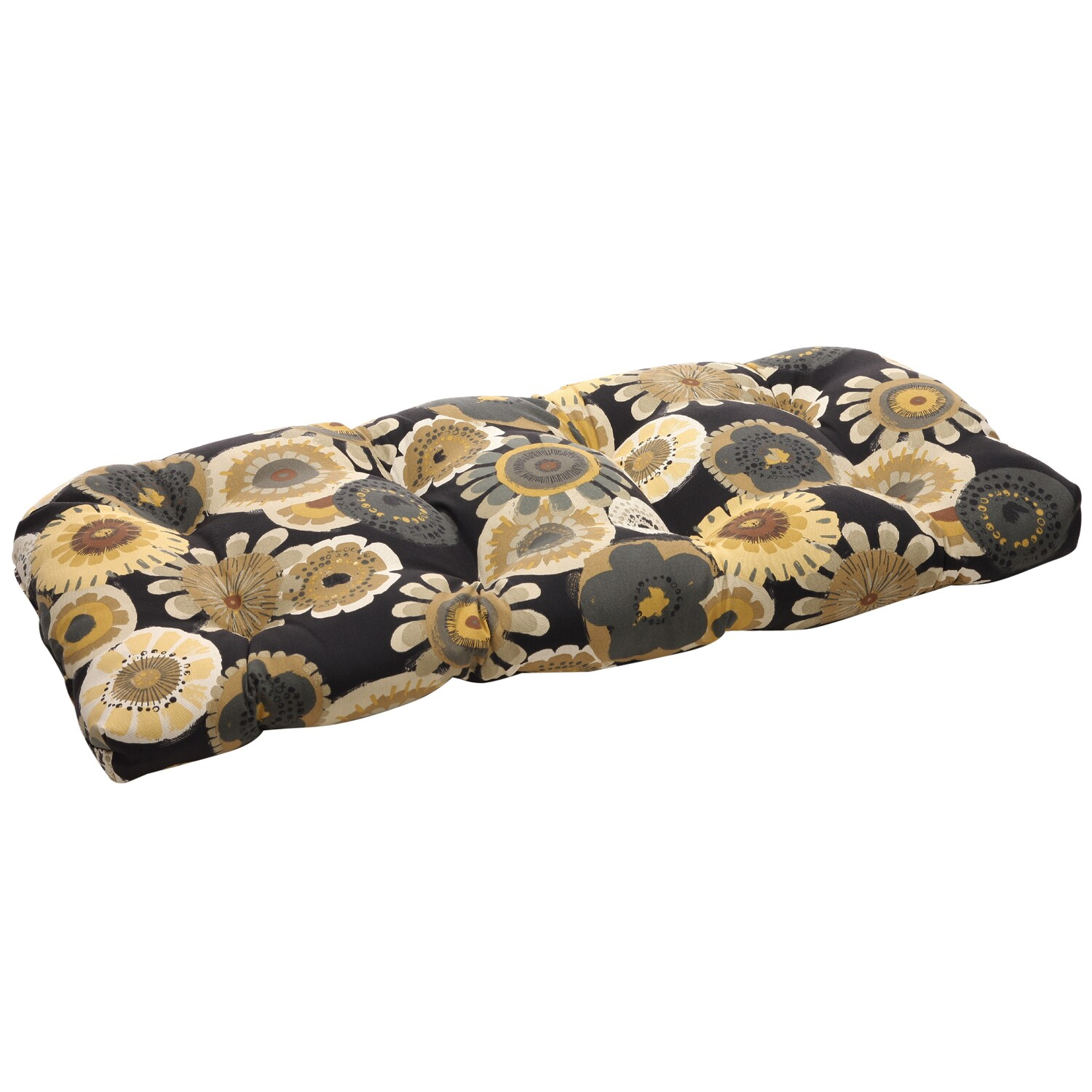 Pillow Perfect Black/ Yellow Floral Tufted Outdoor Wicker Loveseat Cushion