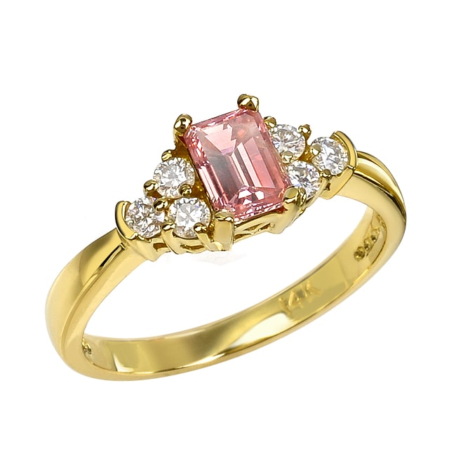 14k Yellow Gold 4/5ct TDW Pink and White Diamond Ring (G-H, SI1-SI2)