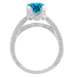 14k White Gold 1 5/8ct TDW Blue and White Diamond Ring (G-H, SI1-SI2) - Thumbnail 1