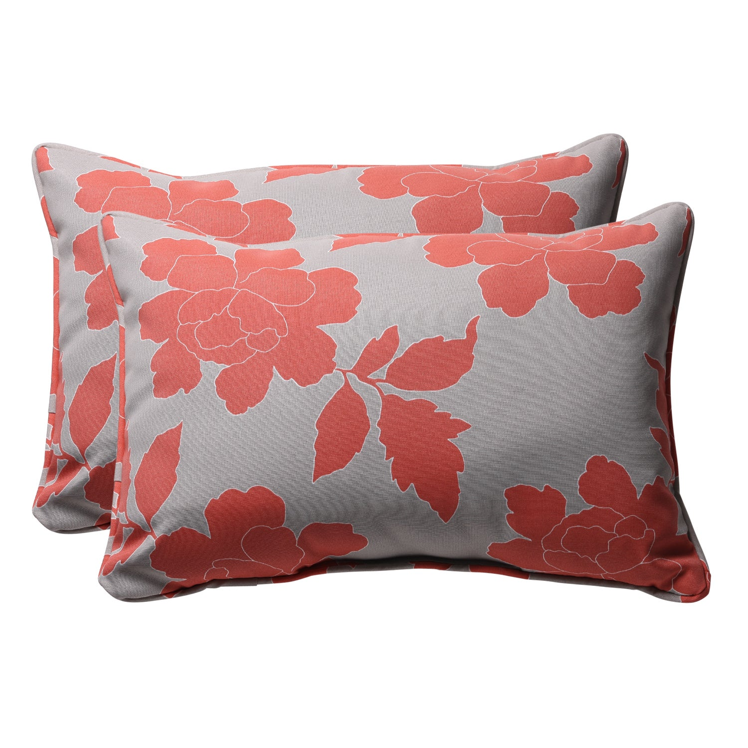 Decorative Grey/ Coral Floral Rectangle Outdoor Toss Pillow (Set of 2)