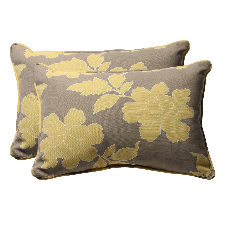 Decorative Grey/ Yellow Rectangle Floral Outdoor Toss Pillow (Set of 2)