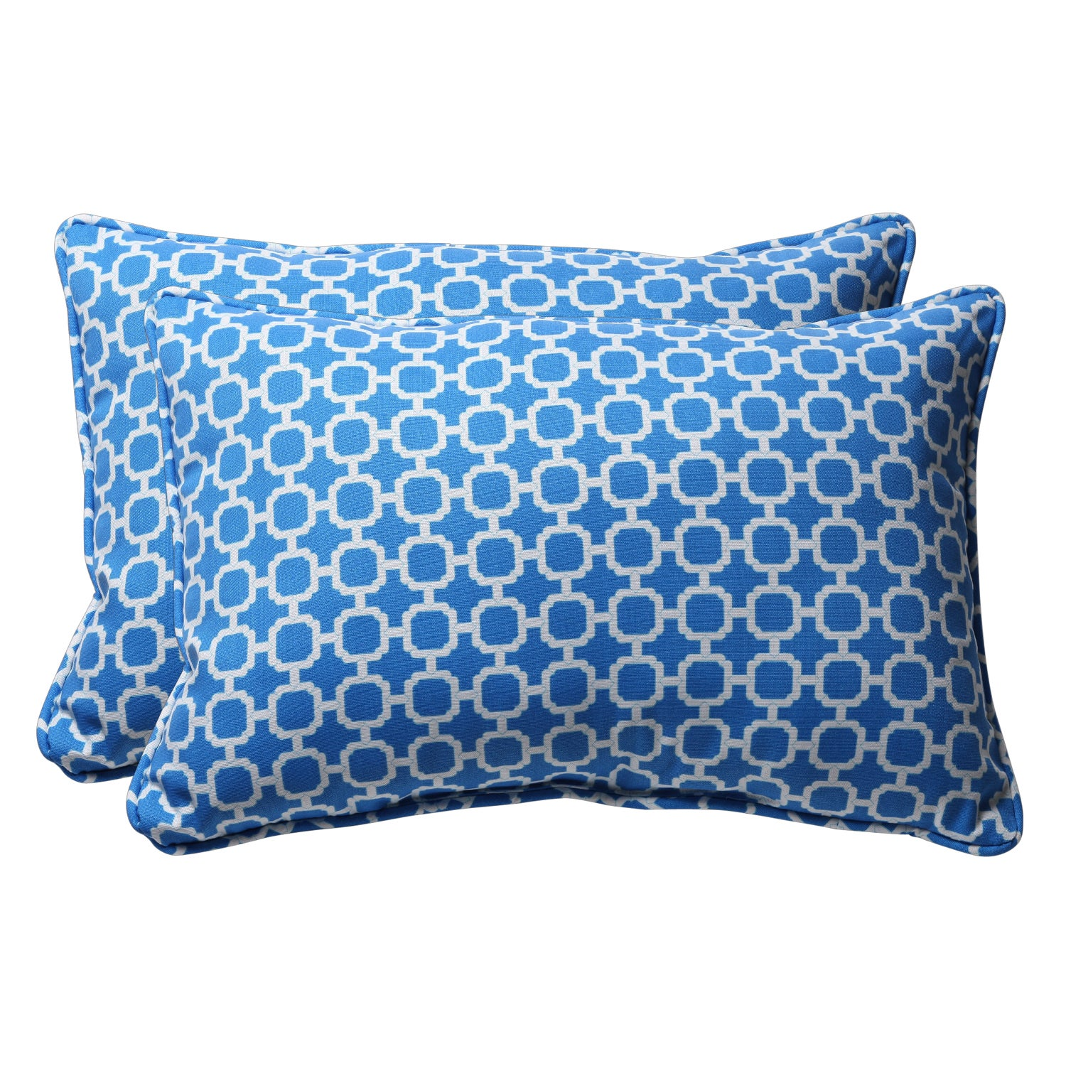 Decorative Blue and White Geometric Rectangle Outdoor Toss Pillows (Set of 2)