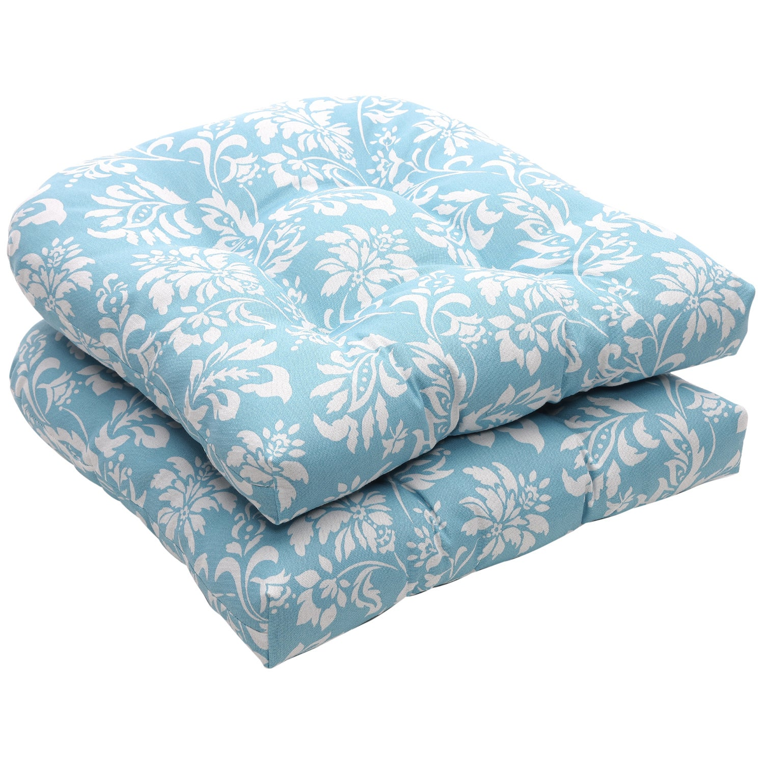 Outdoor Blue And White Floral Wicker Seat Cushions Set Of